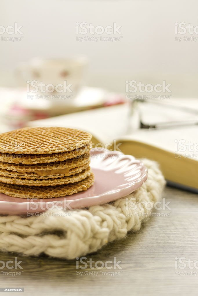 Dutch Syrup Waffles stack royalty-free stock photo