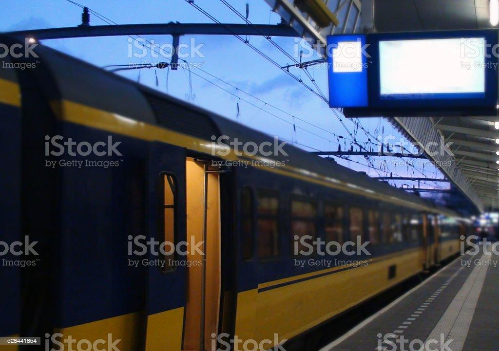Dutch Train Parked At Den Haag Train Station stock photo