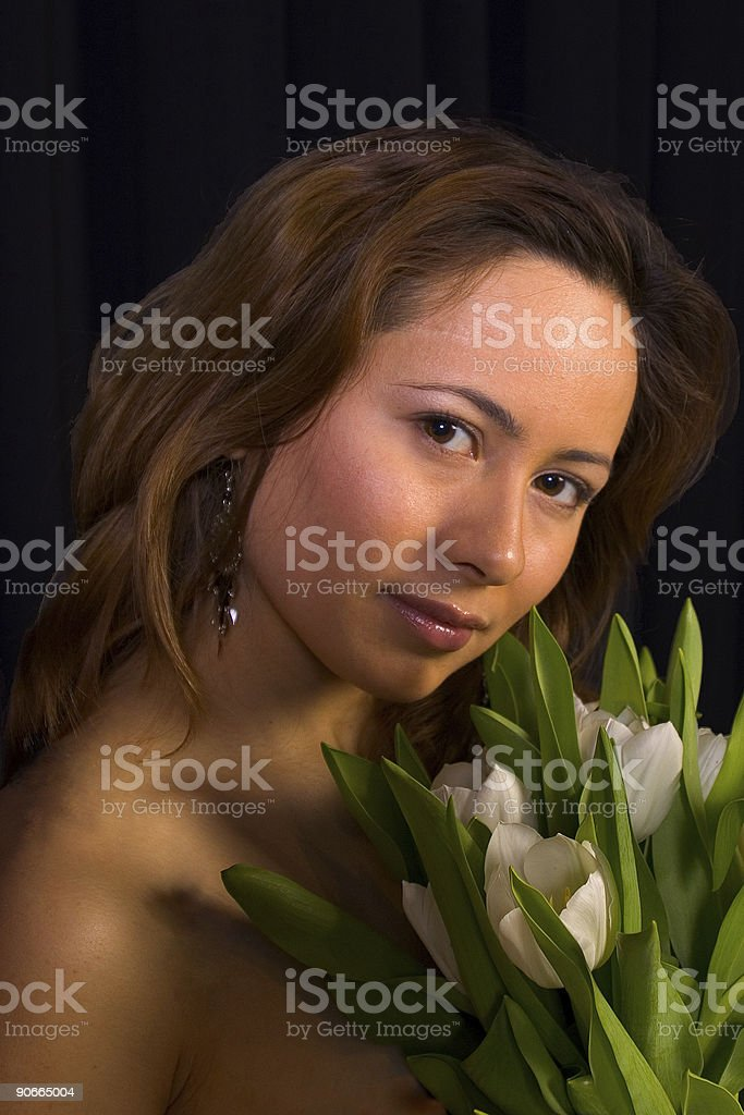 Dutch tulip girl stock photo