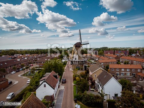 Dutch village with windmill Gravendeel near Dodrecht Netherland