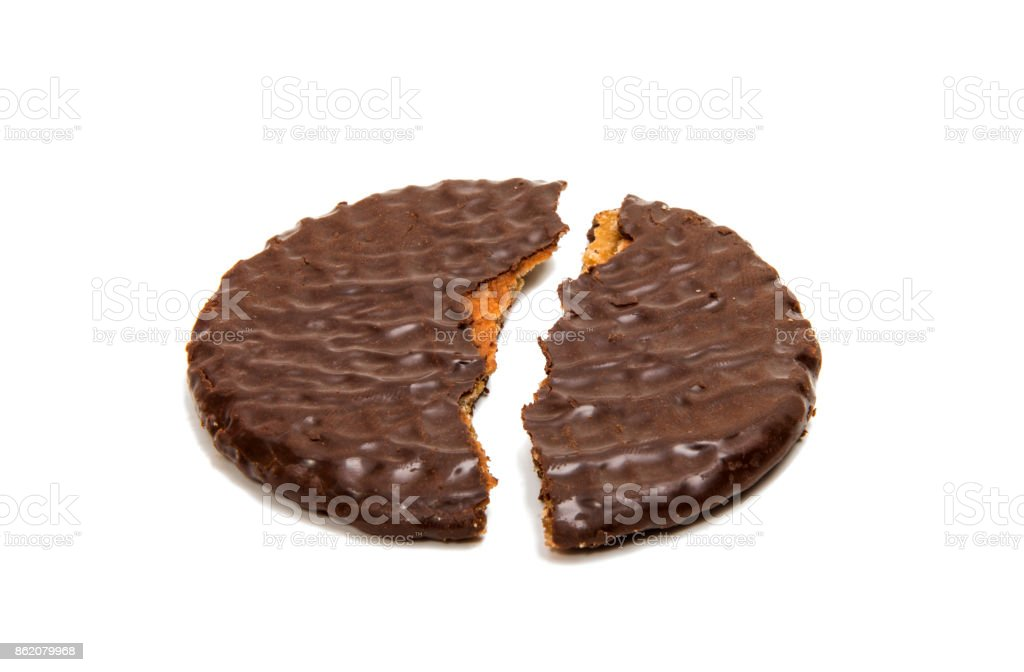 Dutch waffles in chocolate isolated stock photo
