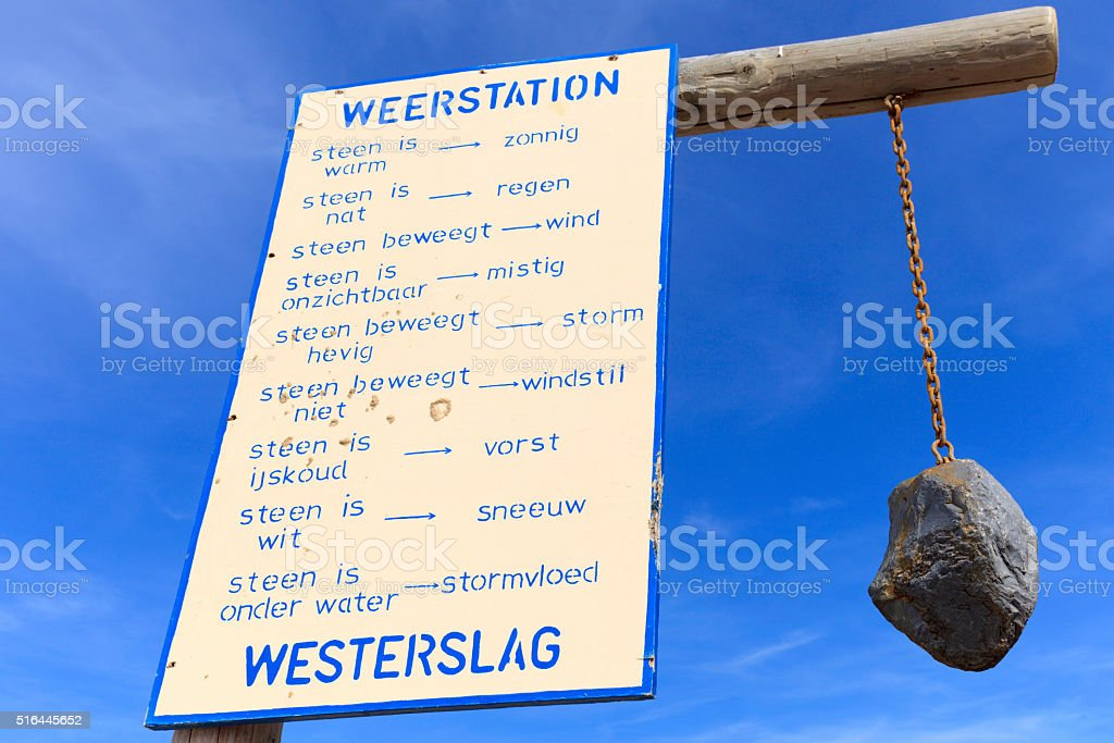 Dutch weather station relating to the condition of a stone stock photo