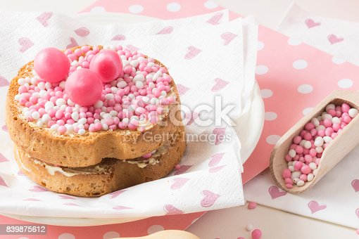 istock dutch white and pink sprinkles in a wooden spoon, with crispy biscuit, 839875612