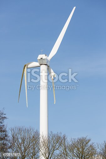 istock Dutch wind turbine with broken wings after a storm 470517972