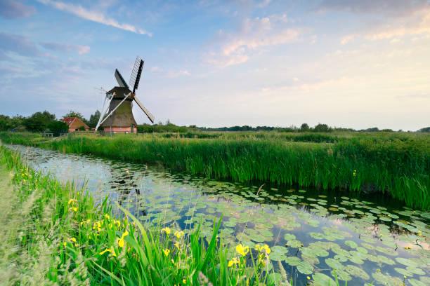 Nederlandse windmolen door rivier in de zomer, Nederland foto