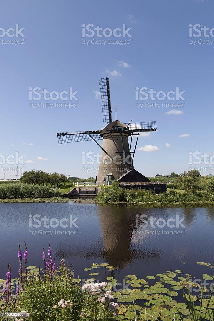 Dutch windmill in Kinderdijk royalty-free stock photo