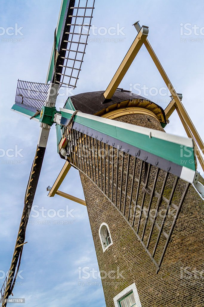 Dutch windmill in motion. stock photo