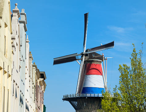 Dutch Windmill In The City Of Leiden Stock Photo - Download Image Now