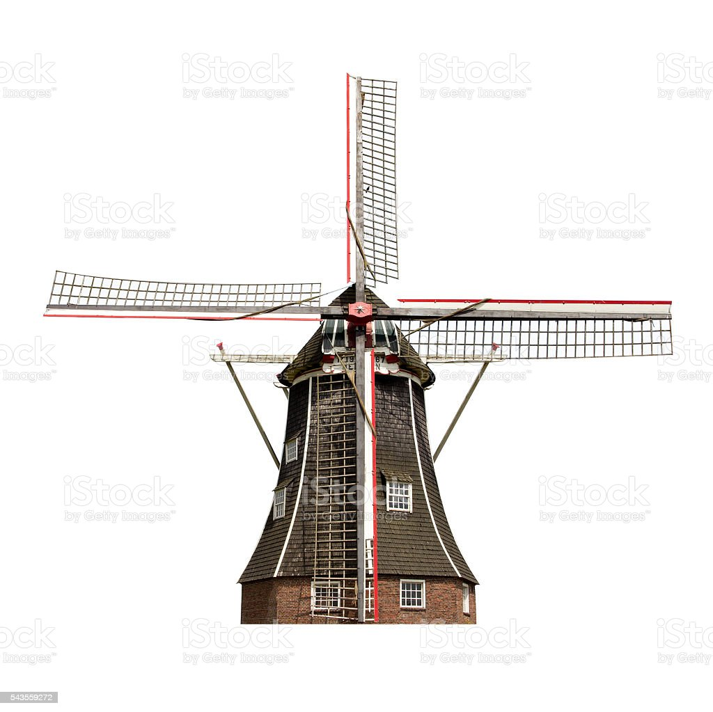 Dutch windmill isolated stock photo