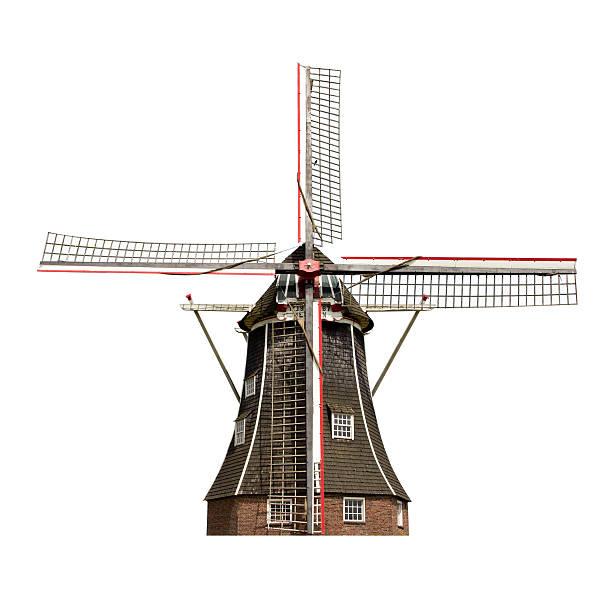 Dutch windmill isolated stock photo