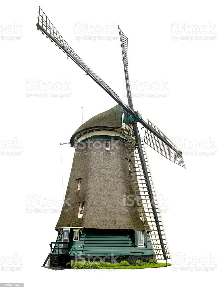 Dutch windmill with clipping path stock photo