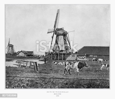 Antique Dutch Photograph: Dutch Windmills, Holland, 1893. Source: Original edition from my own archives. Copyright has expired on this artwork. Digitally restored.