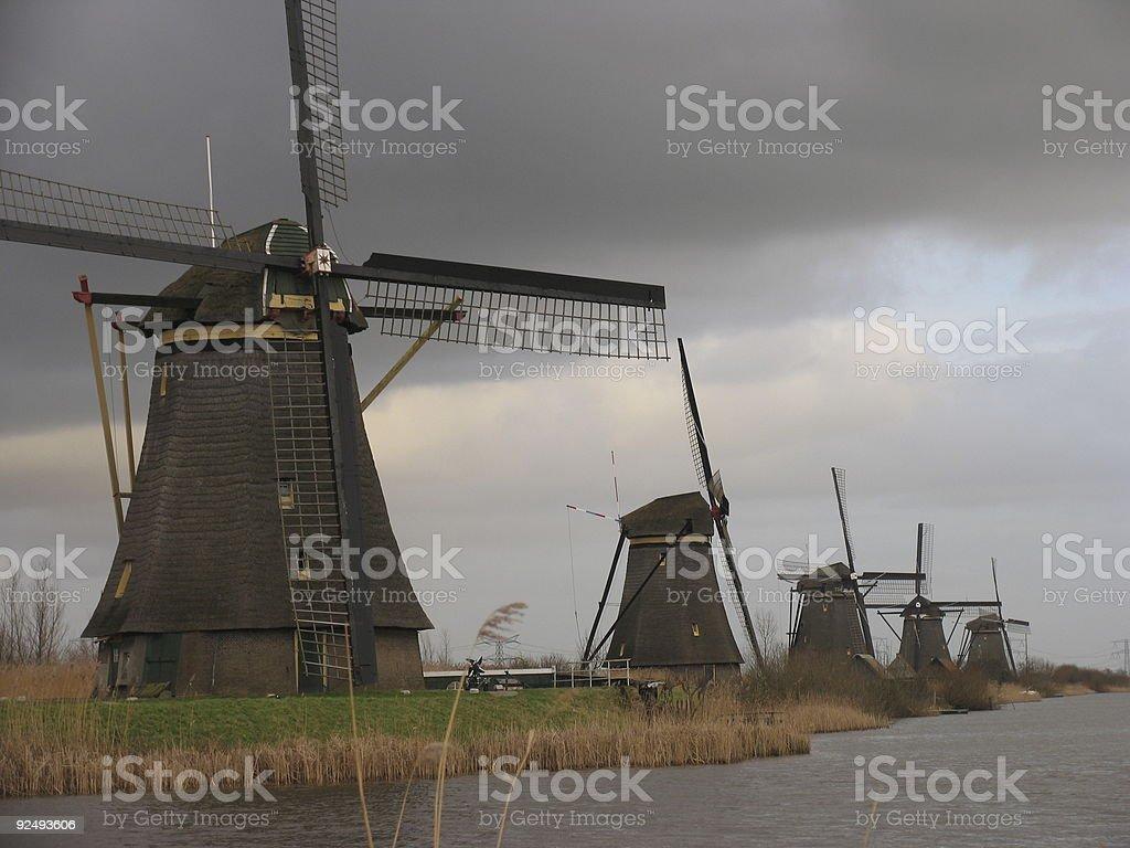 Dutch windmills in Kinderdijk 1 royalty-free stock photo