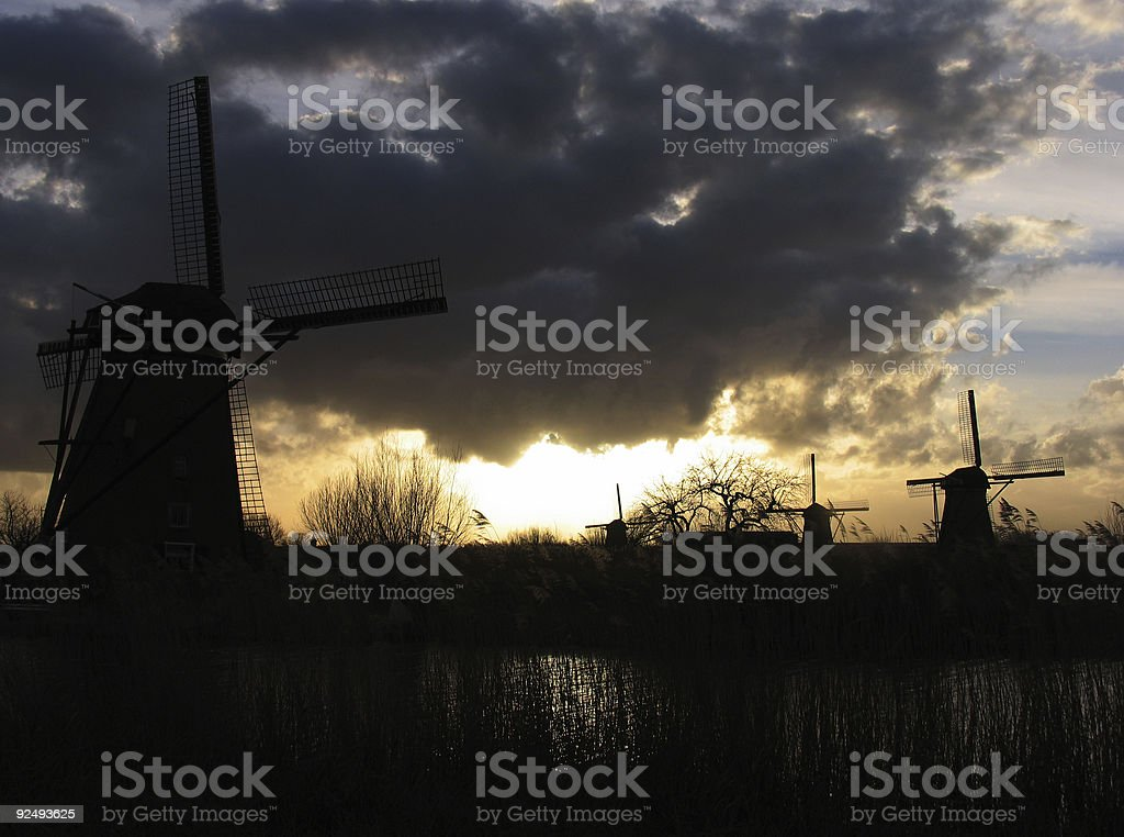 Dutch windmills in Kinderdijk 3 royalty-free stock photo