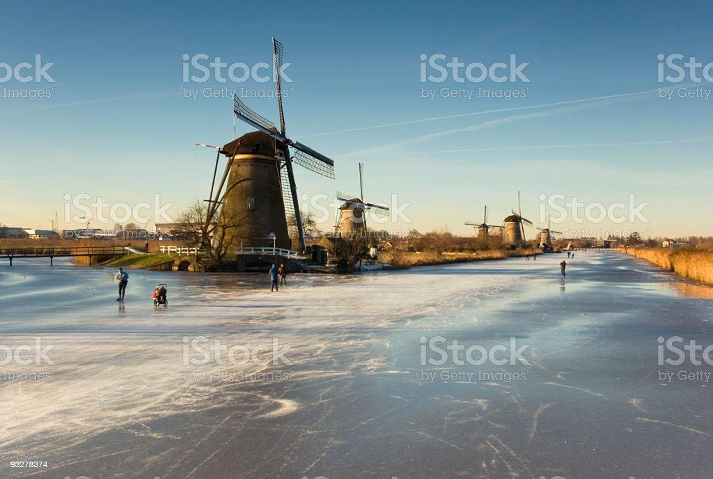Dutch winter in Kinderdijk royalty-free stock photo