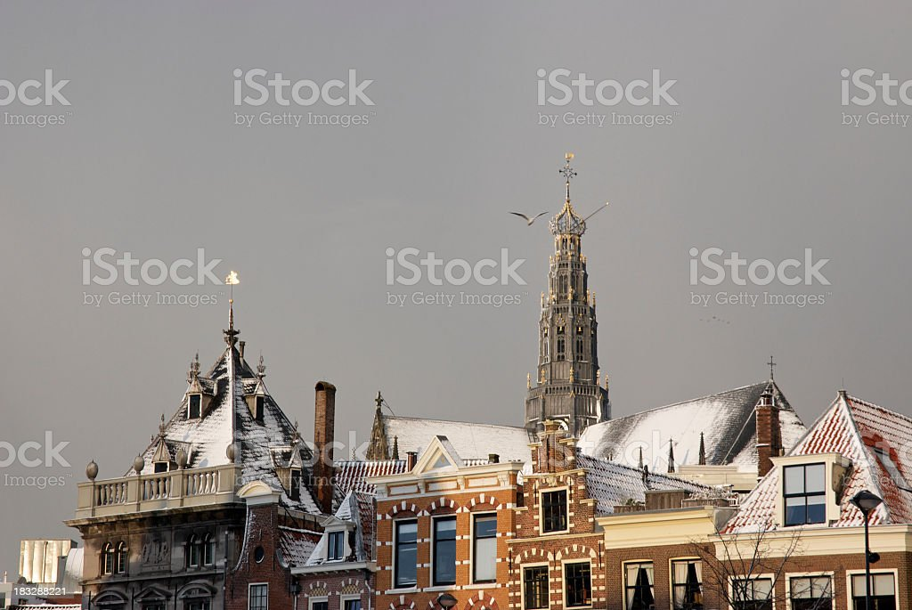 Dutch winter scene stock photo