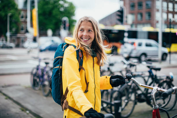 Dutch woman with bicycle stock photo