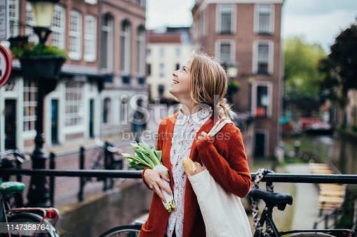 Dutch woman with tulips
