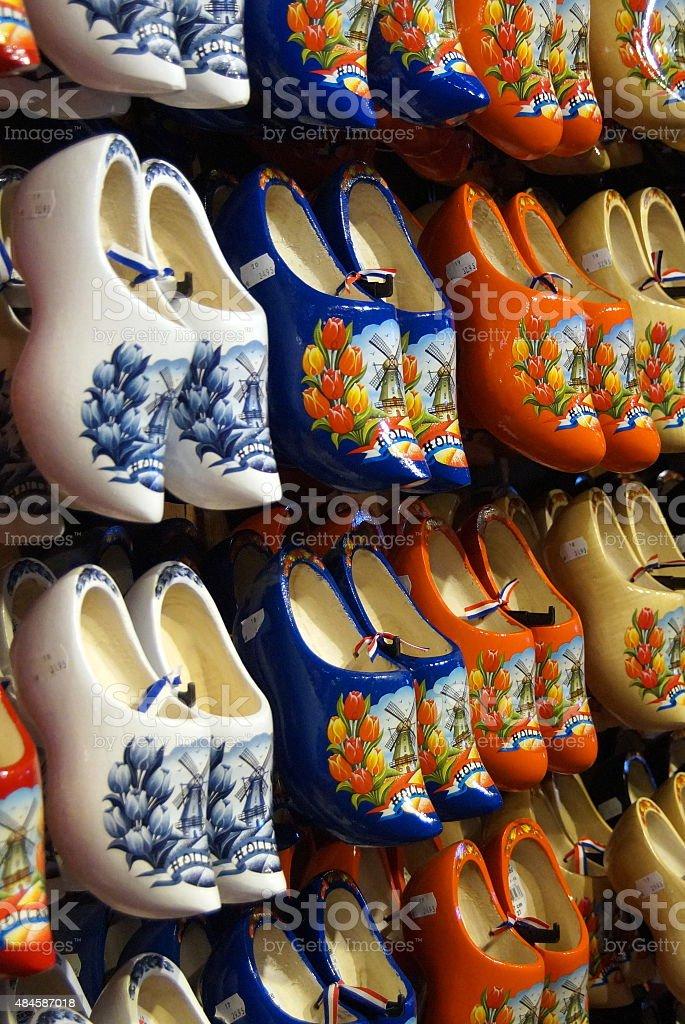 Dutch wooden shoes for sale - souvenir clogs stock photo