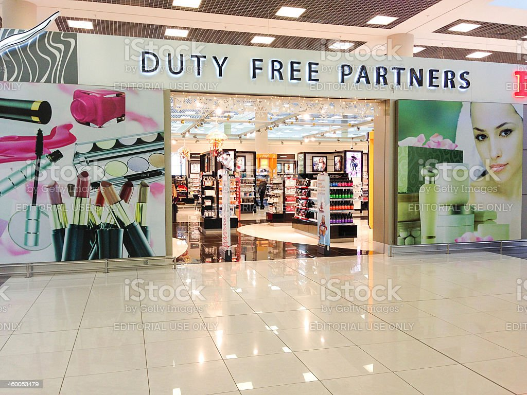 Duty Free Perfume Store at Moscow International Airport Sheremet stock photo
