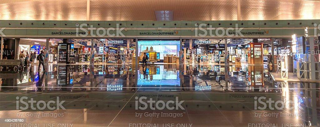 Duty free shop of El Prat-Barcelona airport stock photo