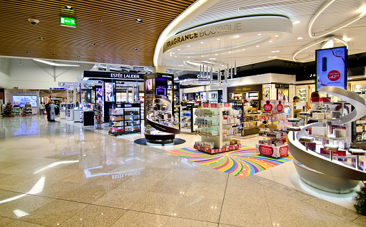 Duty Free Shops At Eleftherios Venizelos Airport In Athens Greece Stock Photo - Download Image Now