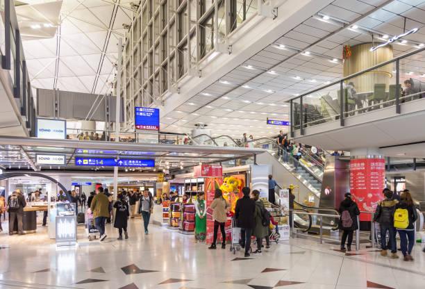 Hong Kong, China - January 24, 2016: Duty free shops in departure hall at Chek Lap Kok International Airport. stock photo