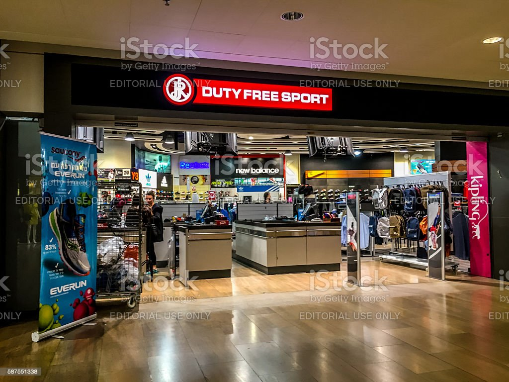 Duty free sport shop at Ben Gurion airport, Tel Aviv stock photo