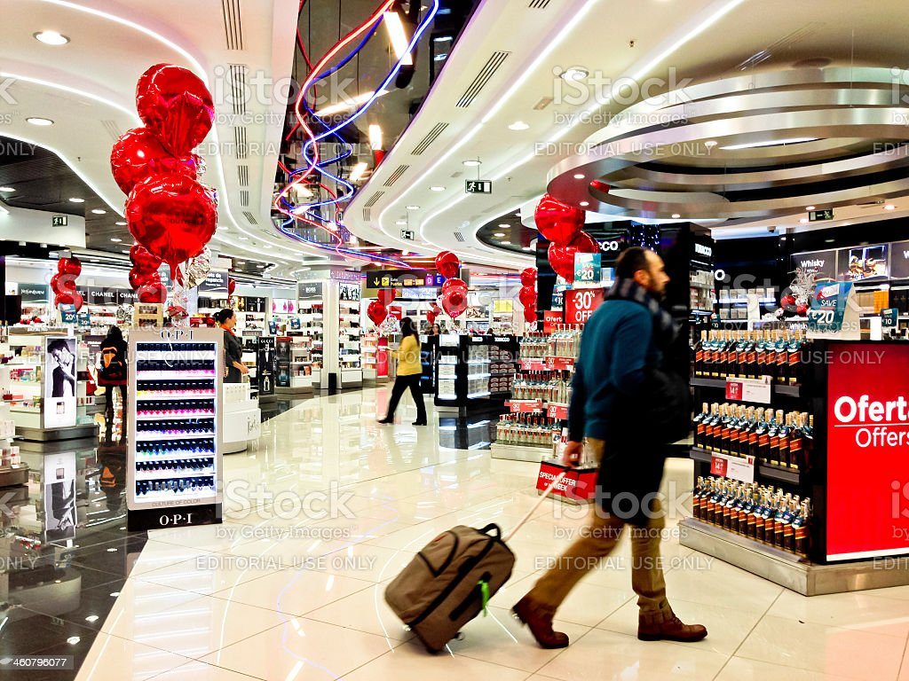 Duty Free Store at Madrid Airport, Barajas, Spain stock photo