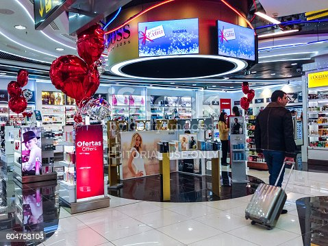 455111881istockphoto Duty Free Store at Madrid Airport, Barajas, Spain 604758104