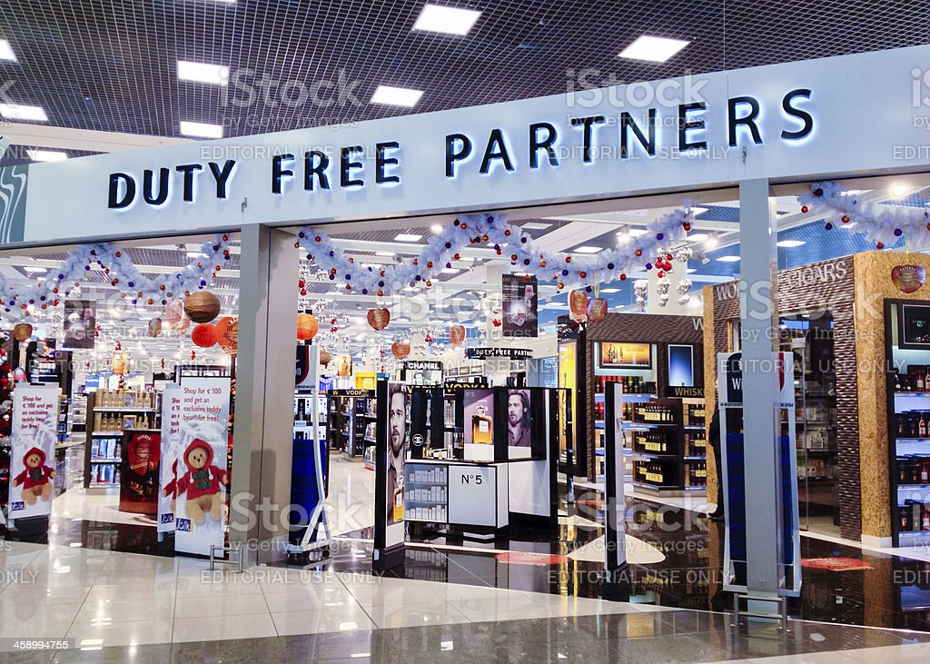 Duty Free Store at Sheremetyevo Airport, Moscow, Russia stock photo