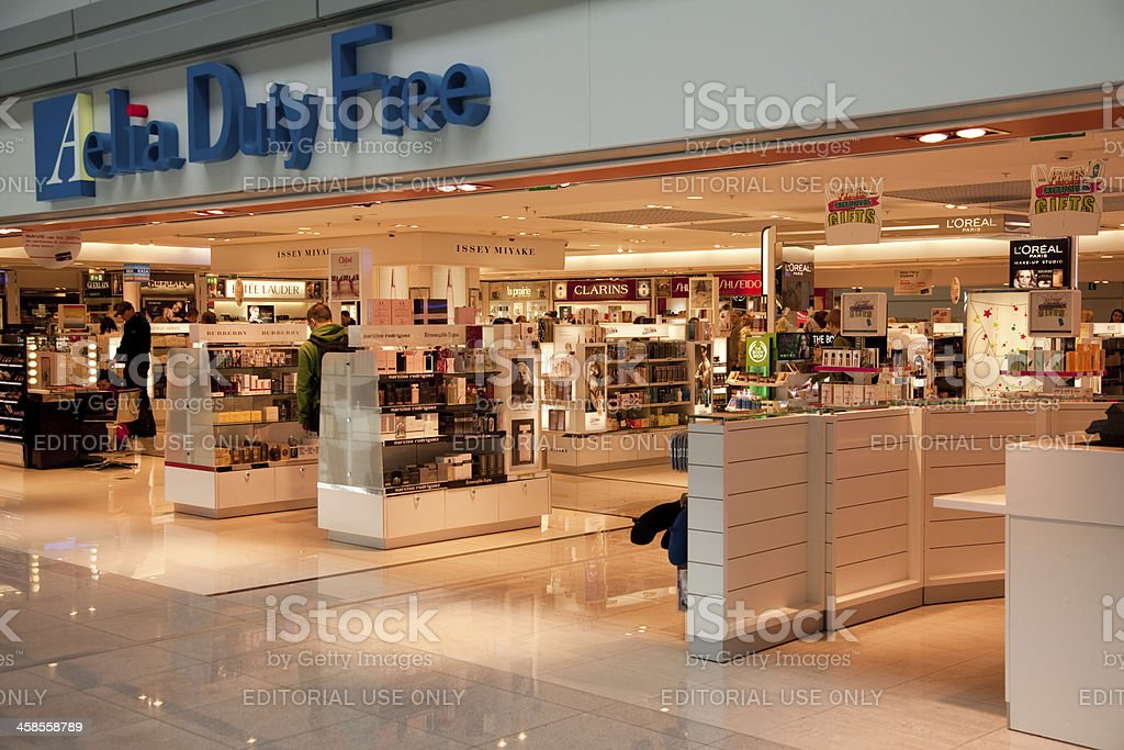Duty free store at the airport royalty-free stock photo