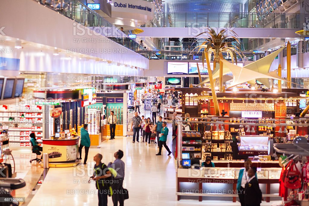 Duty free stores in new terminal of airport Dubai stock photo