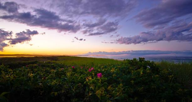 Duxbury Beach Sunset stock photo
