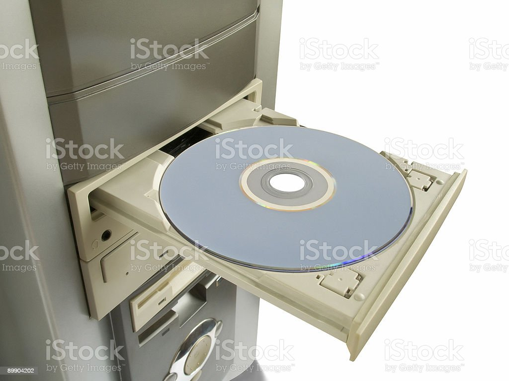 Dvd, cd disc in open drive royalty-free stock photo