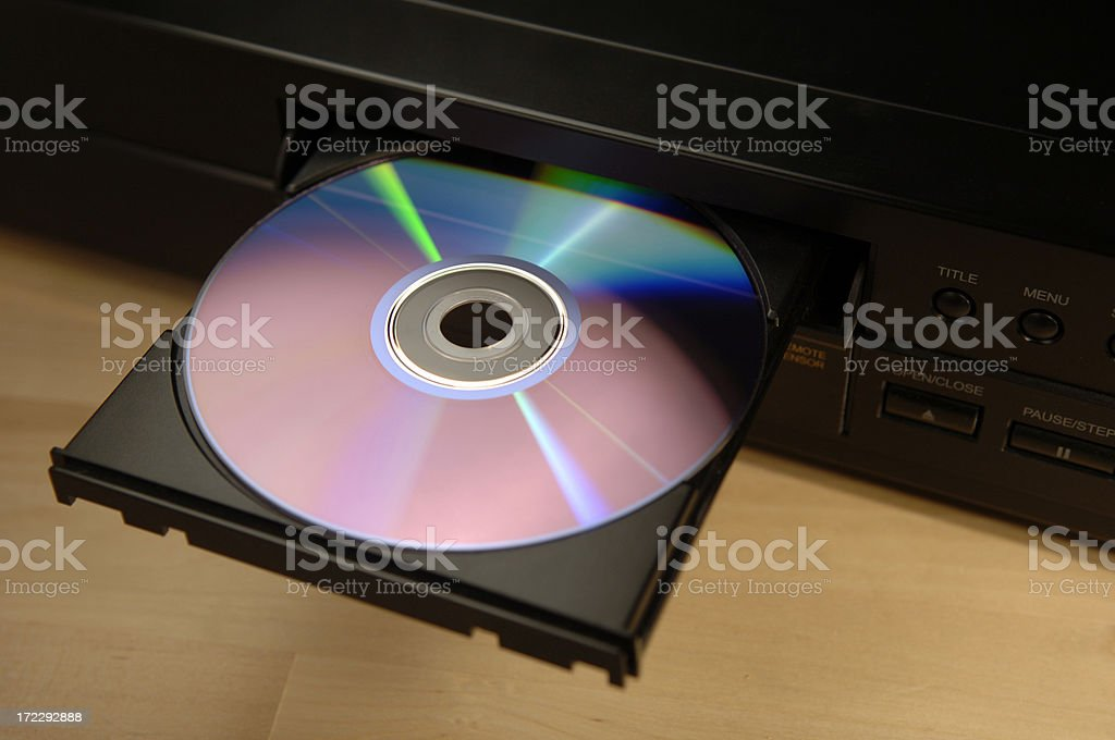 dvd in tray stock photo