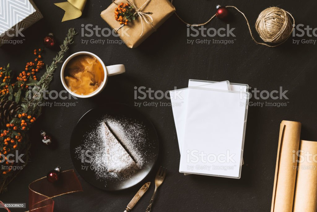 Dvd movies for Christmas, flat lay table top shot stock photo