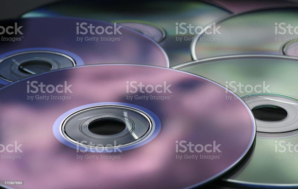 DVDs-CDs reflections stock photo