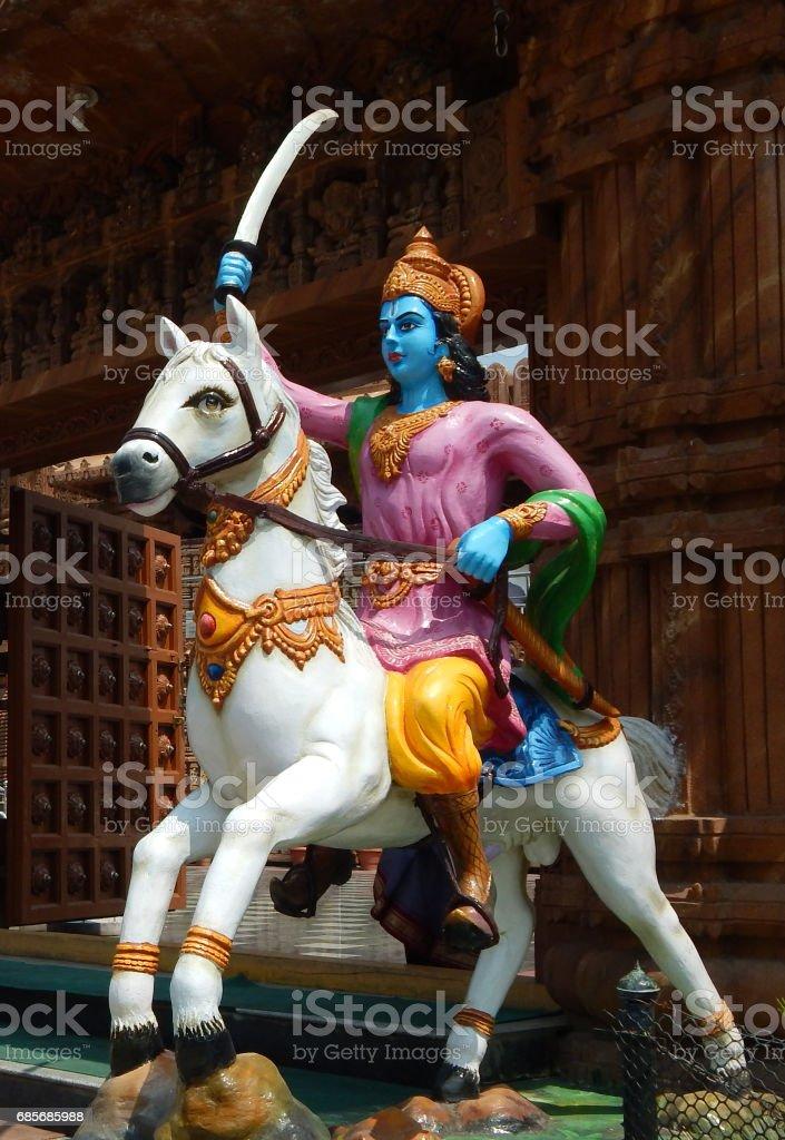 Dwara palaka on horse back with sword or temple Guard in Hindu God Jagannath temple  Hyderabad,India. stock photo