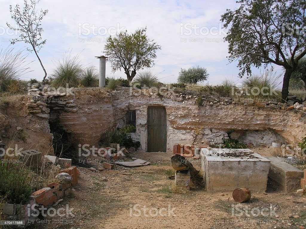 dwarf house, strange house underground, hobbit house, dwarf, house, spain stock photo