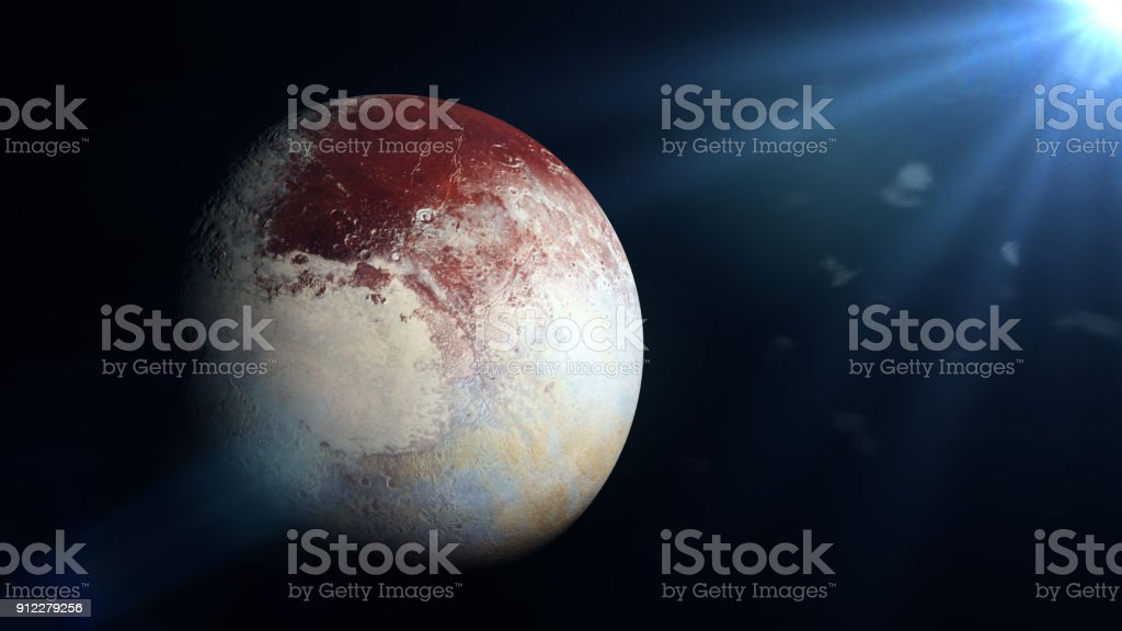 dwarf planet Pluto and the Sun stock photo