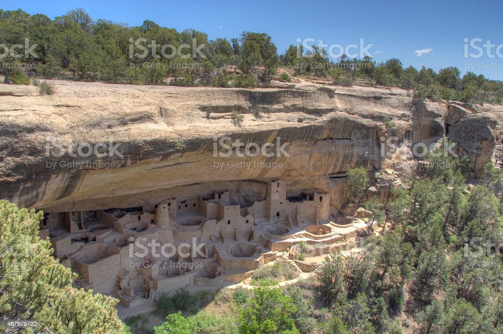 Dwellings at Mesa Verde National Park in Colorado stock photo