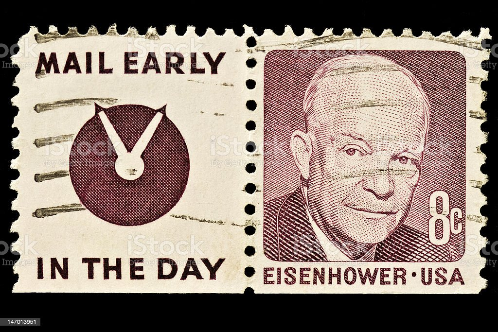 Dwight D. Eisenhower With Slogan, Postal Stamp stock photo