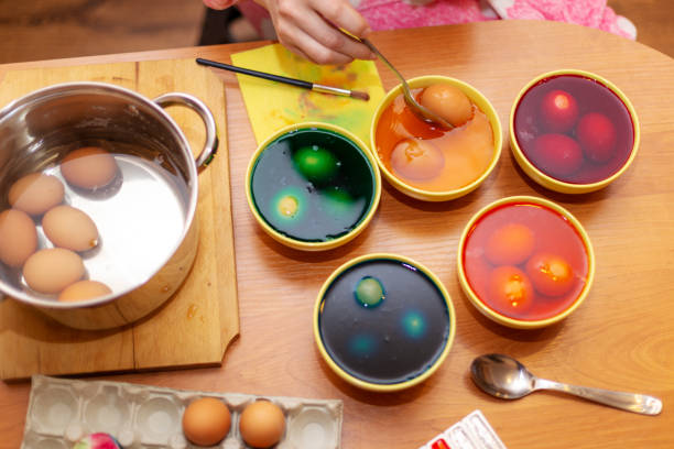 Dyed Easter eggs stock photo