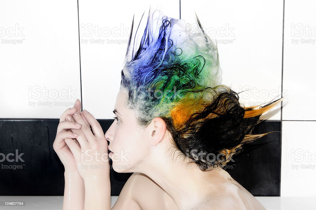 dyed hair royalty-free stock photo