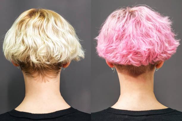 het verven van haar in roze kleur. - hair grow cyclus stockfoto's en -beelden