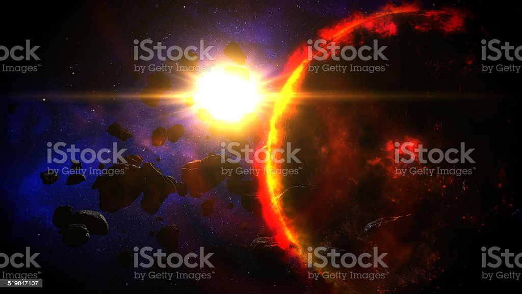 Dying Planet illuminated by Sun stock photo