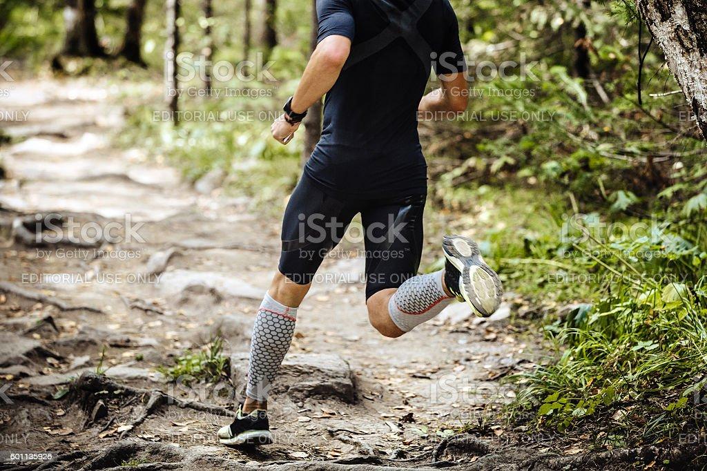 dynamic athlete running marathon in woods stock photo