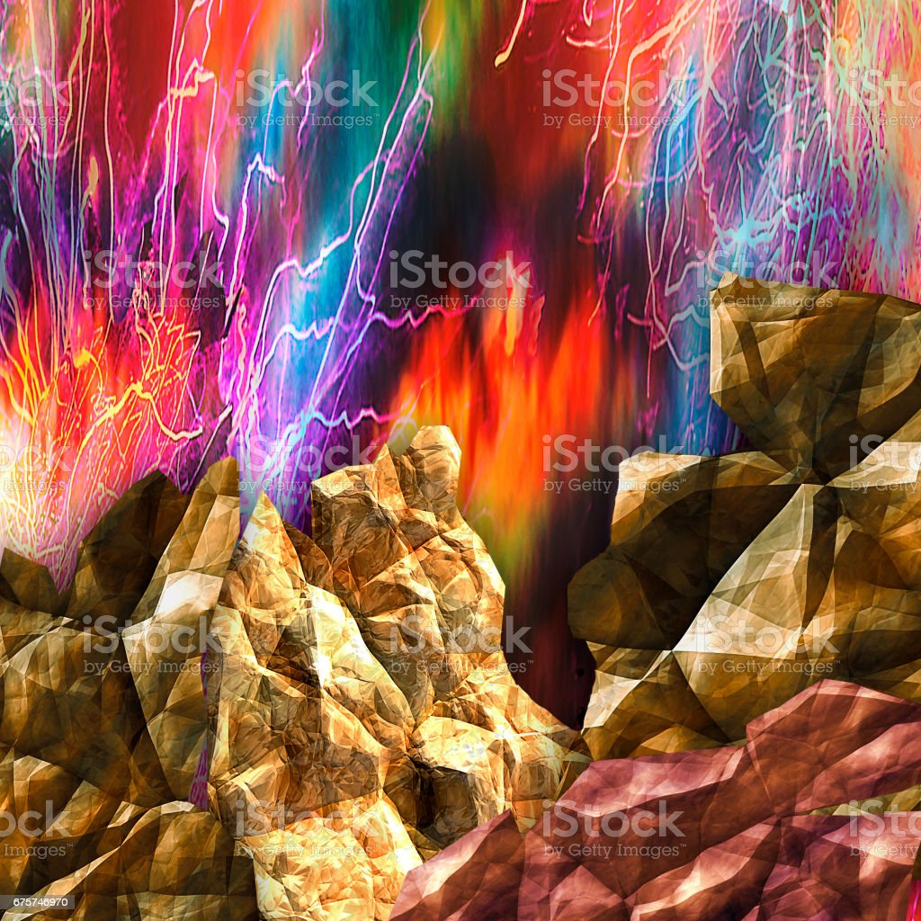 Dynamic background with cracked rocks and dramatic sky. Volcano with flames and rays vector art illustration