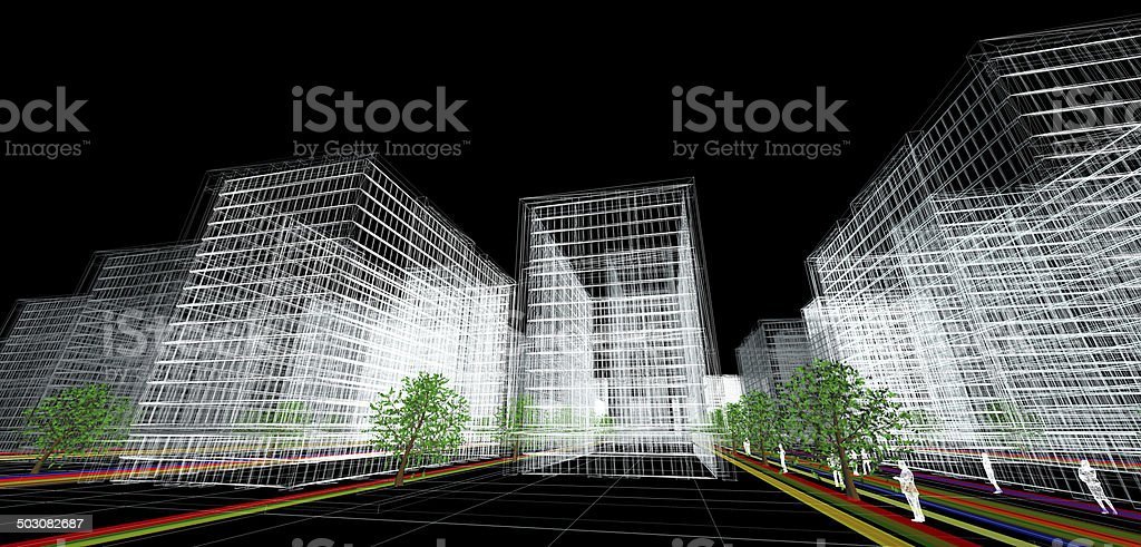 3d wireframe of a modern architectural building complex.